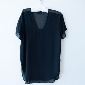 Calvin Klein V-Neck Black Dressy Tee Shirt Top